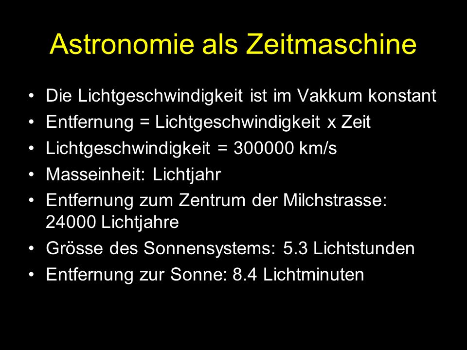Astronomie als Zeitmaschine