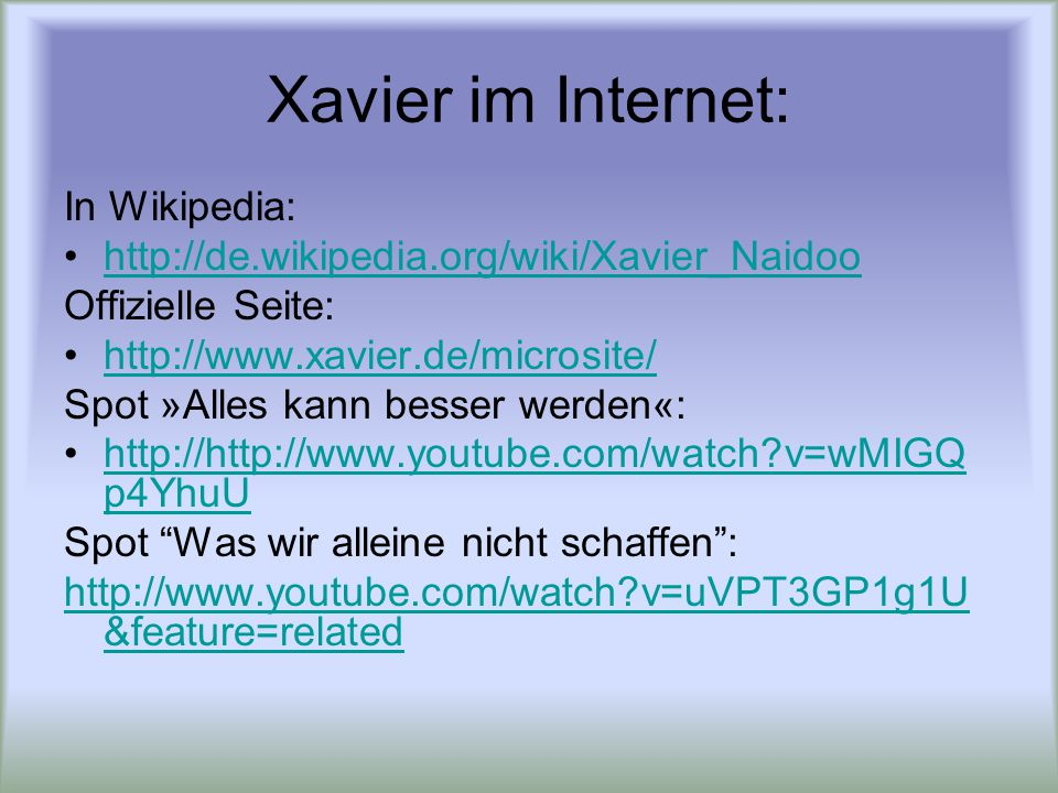 Xavier im Internet: In Wikipedia: