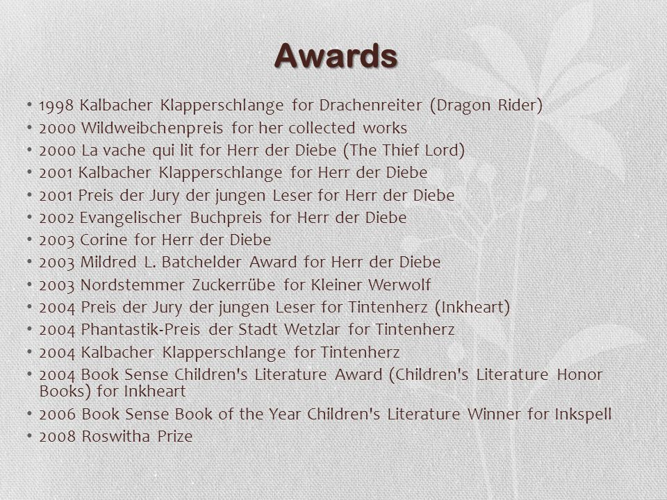 Awards 1998 Kalbacher Klapperschlange for Drachenreiter (Dragon Rider)