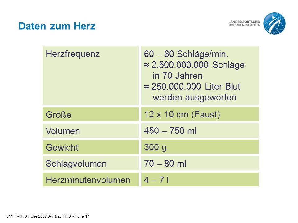 Daten zum Herz Herzfrequenz Größe Volumen 60 – 80 Schläge/min.