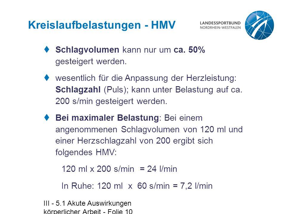 Kreislaufbelastungen - HMV