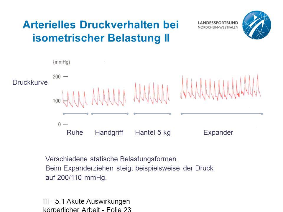 Arterielles Druckverhalten bei isometrischer Belastung II