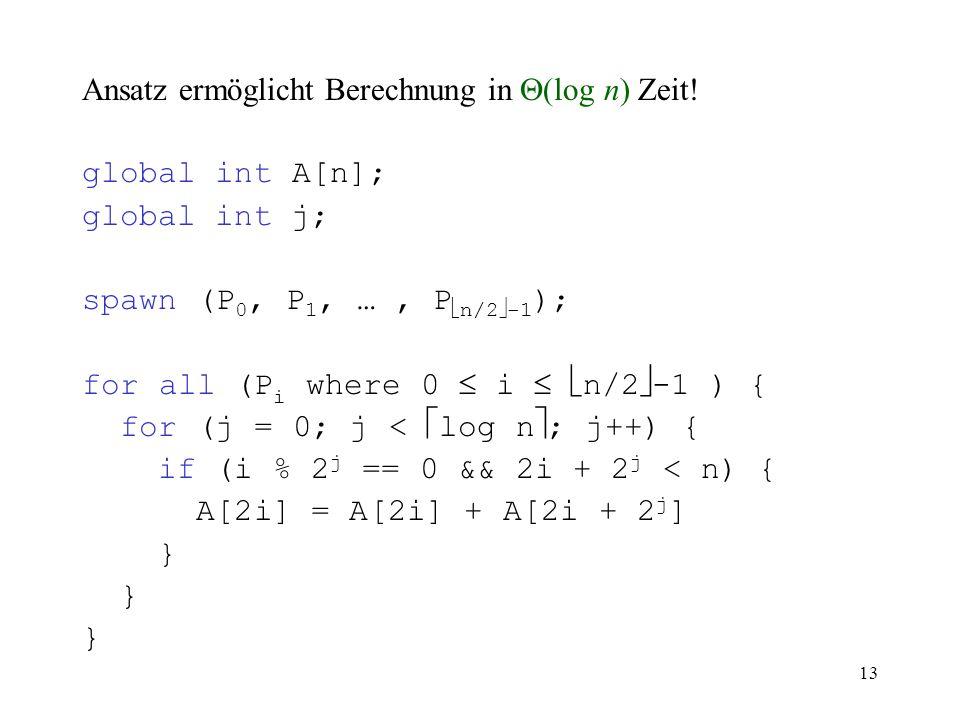 Ansatz ermöglicht Berechnung in (log n) Zeit!