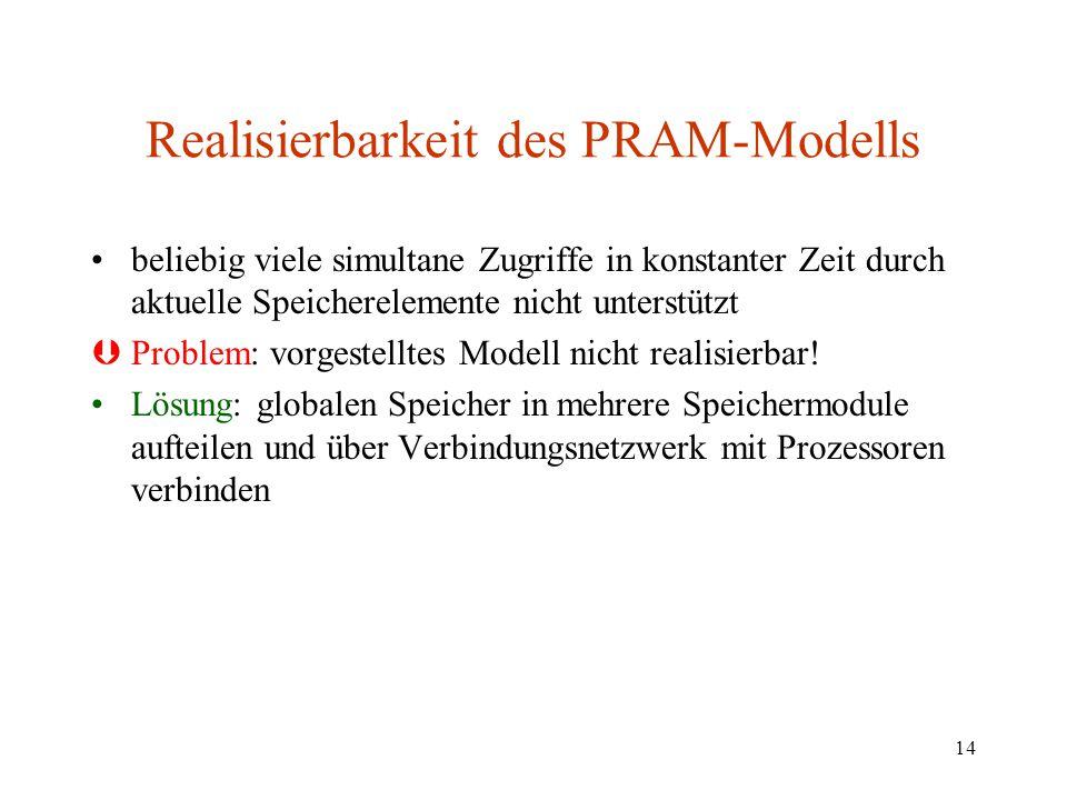 Realisierbarkeit des PRAM-Modells