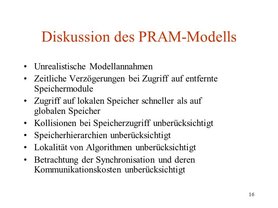 Diskussion des PRAM-Modells