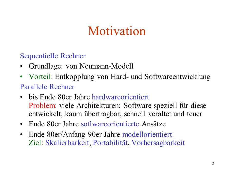 Motivation Sequentielle Rechner Grundlage: von Neumann-Modell