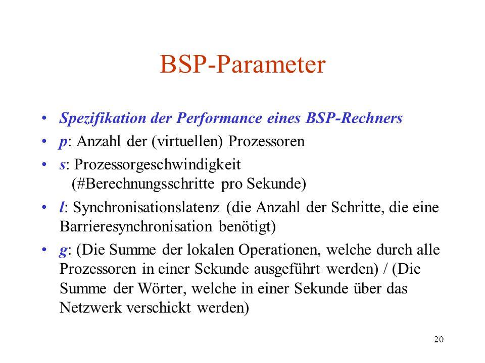BSP-Parameter Spezifikation der Performance eines BSP-Rechners