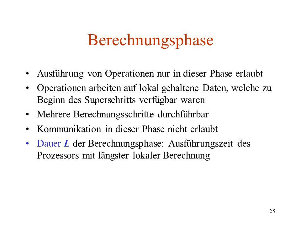 Berechnungsphase Ausführung von Operationen nur in dieser Phase erlaubt.