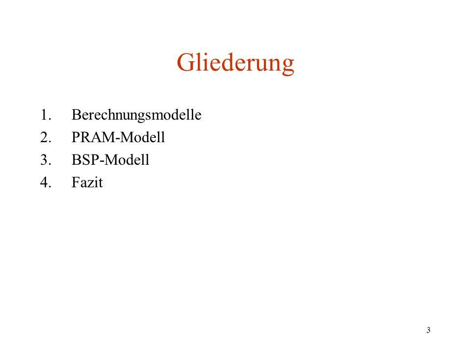Gliederung Berechnungsmodelle PRAM-Modell BSP-Modell Fazit