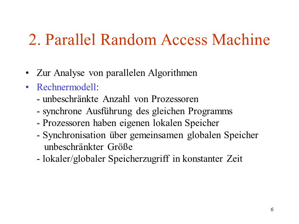 2. Parallel Random Access Machine
