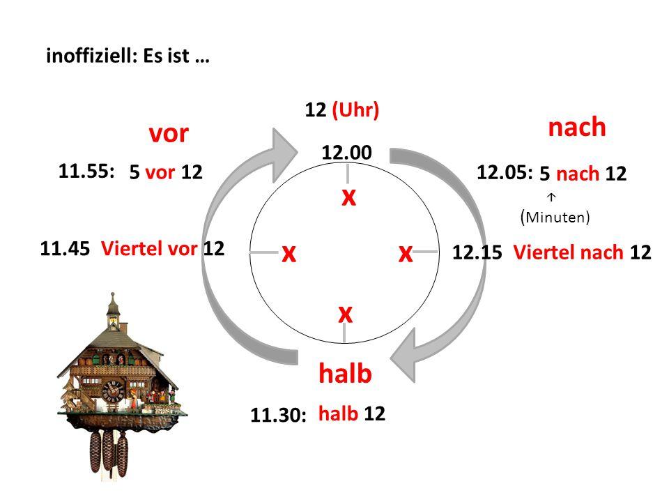 x x x x vor inoffiziell: Es ist … 12 (Uhr) nach 12.00 11.55: 5 vor 12