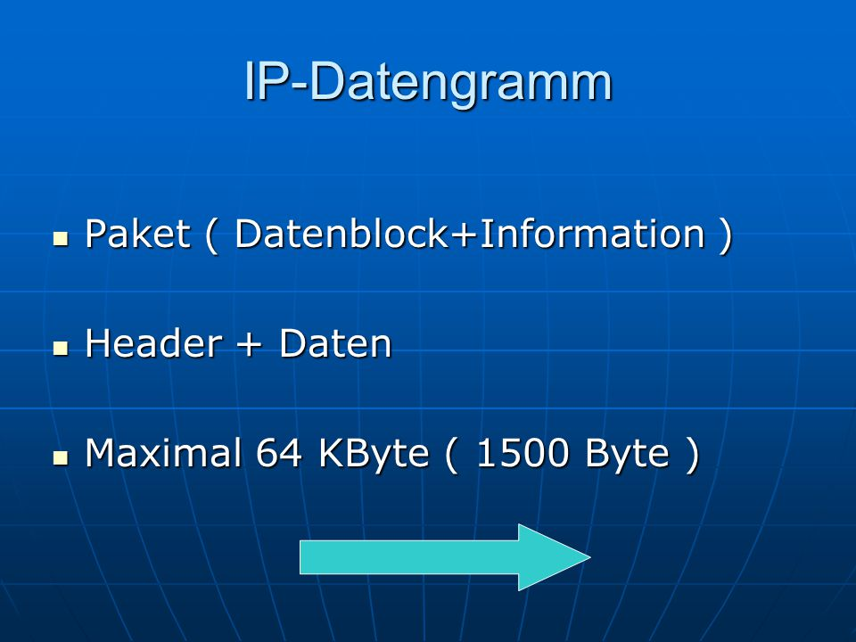 IP-Datengramm Paket ( Datenblock+Information ) Header + Daten