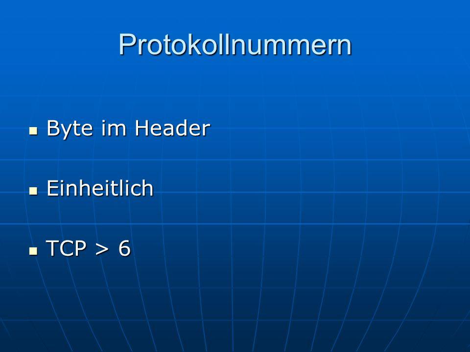 Protokollnummern Byte im Header Einheitlich TCP > 6