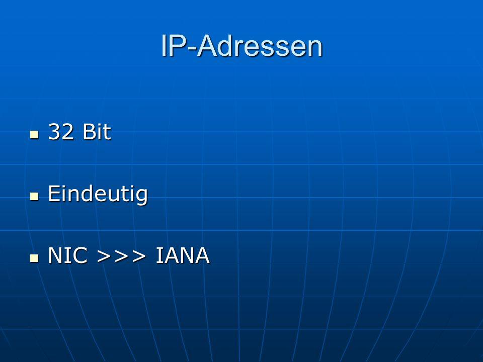 IP-Adressen 32 Bit Eindeutig NIC >>> IANA