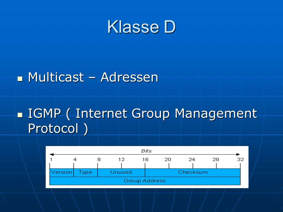 Klasse D Multicast – Adressen