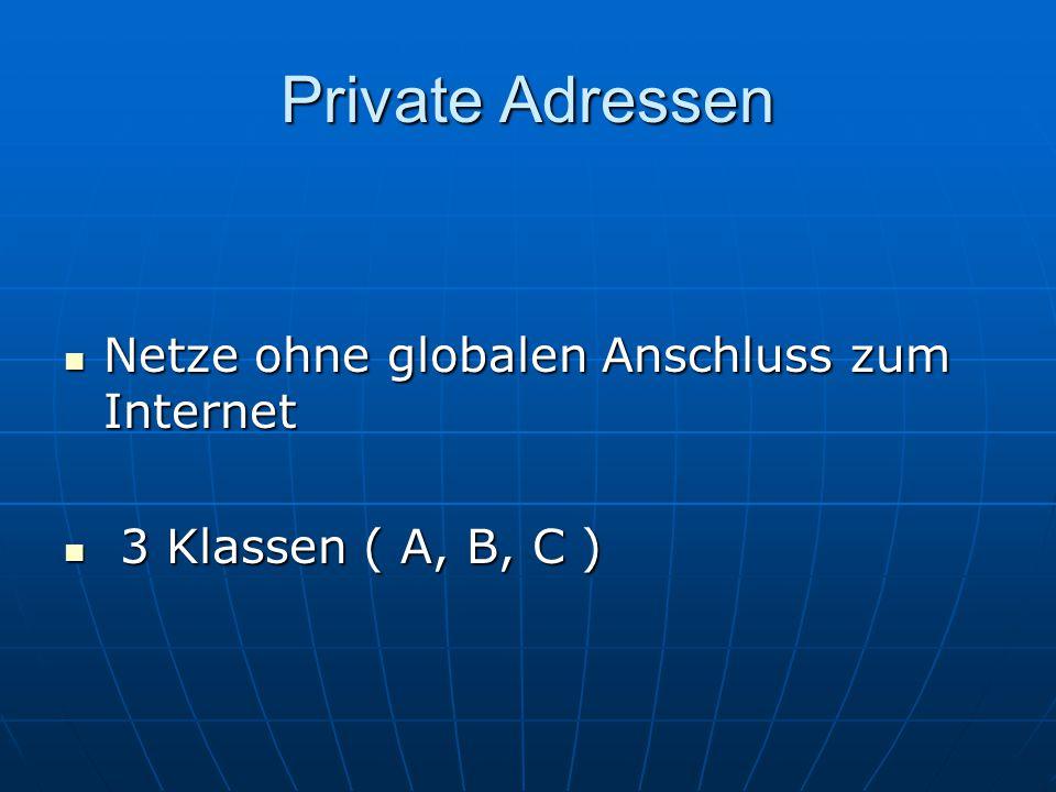 Private Adressen Netze ohne globalen Anschluss zum Internet