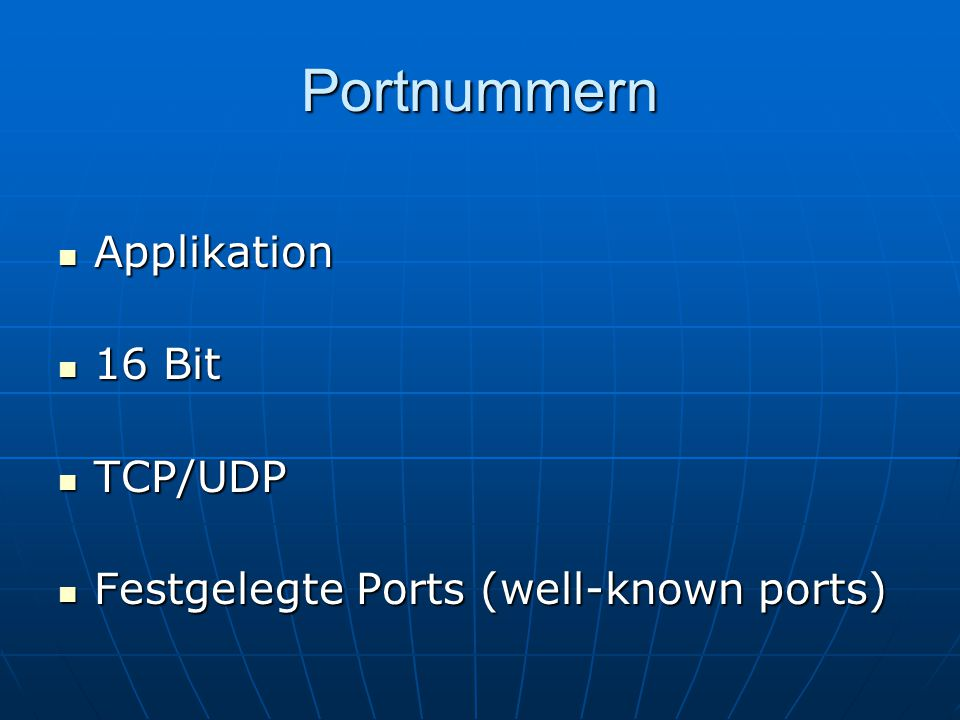 Portnummern Applikation 16 Bit TCP/UDP