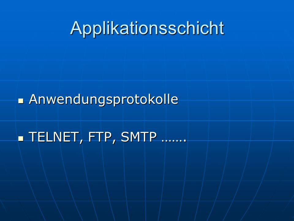 Applikationsschicht Anwendungsprotokolle TELNET, FTP, SMTP …….