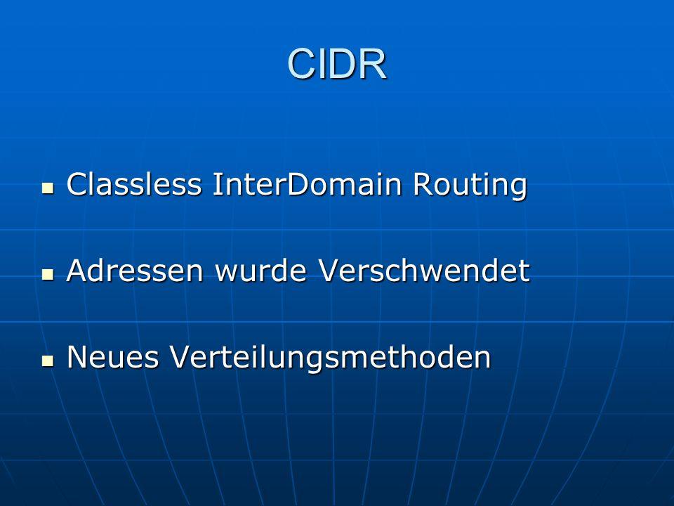 CIDR Classless InterDomain Routing Adressen wurde Verschwendet