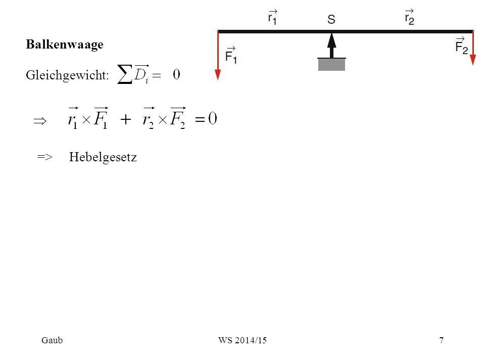 Balkenwaage Gleichgewicht: => Hebelgesetz Gaub WS 2014/15