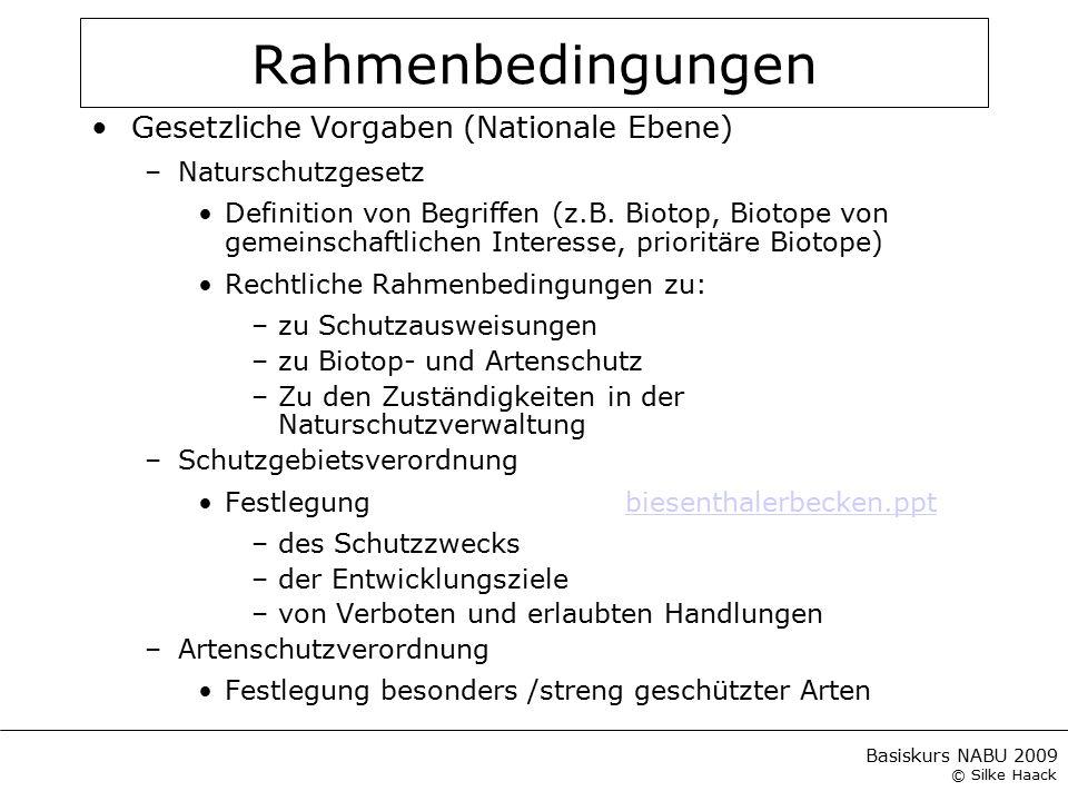 Rahmenbedingungen Gesetzliche Vorgaben (Nationale Ebene)