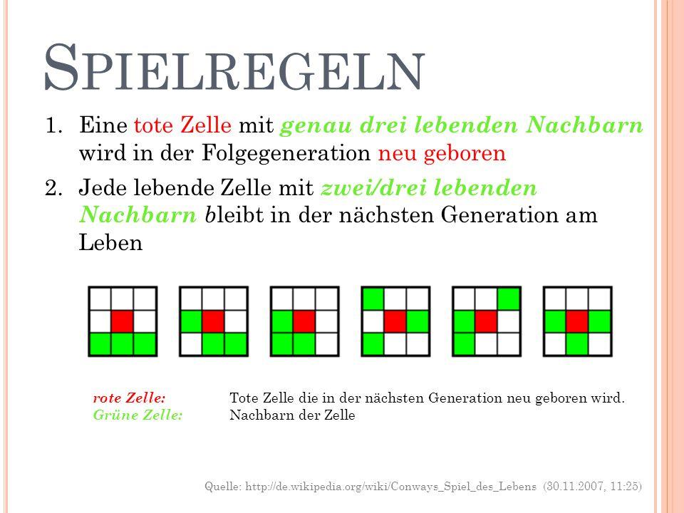 Spielregeln Eine tote Zelle mit genau drei lebenden Nachbarn wird in der Folgegeneration neu geboren.