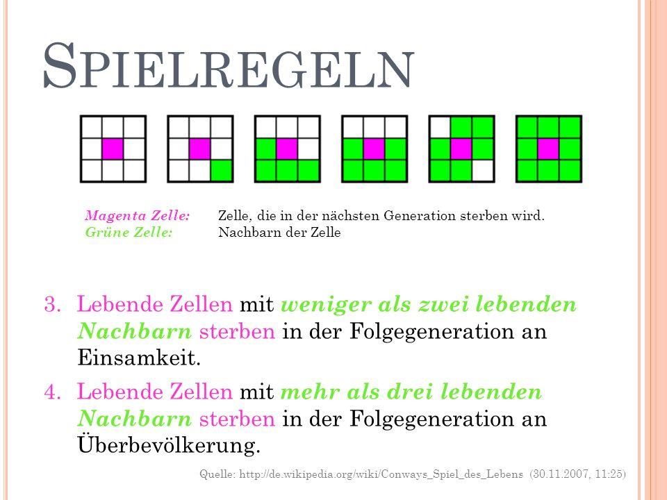 Spielregeln Magenta Zelle: Zelle, die in der nächsten Generation sterben wird. Grüne Zelle: Nachbarn der Zelle.
