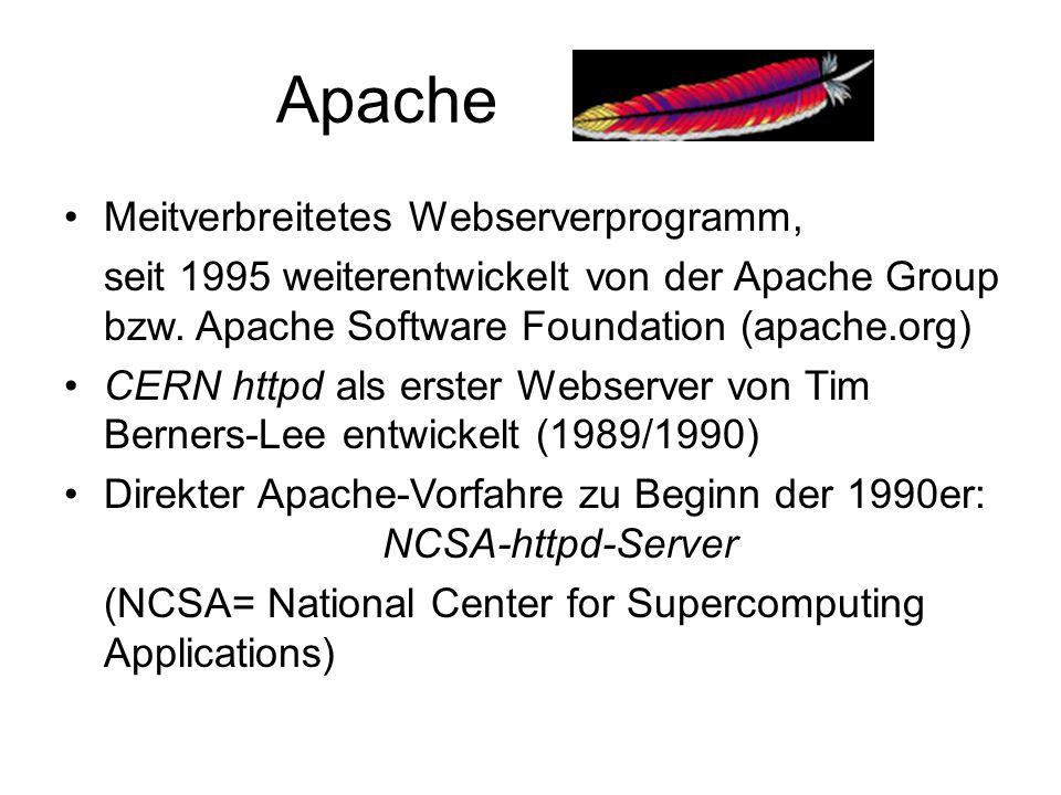 Apache Meitverbreitetes Webserverprogramm,