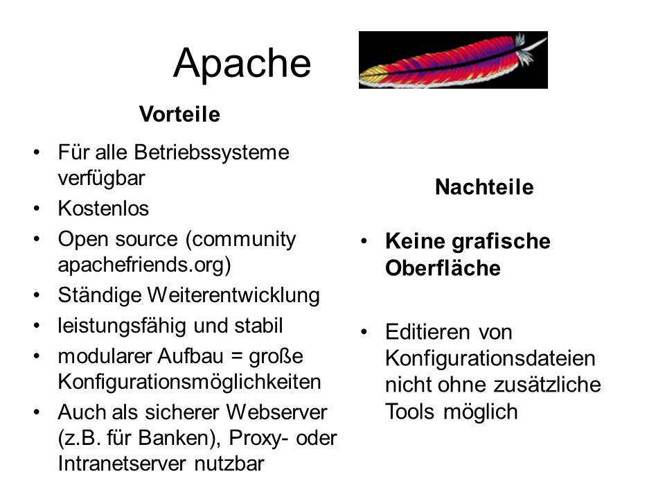 Apache Vorteile Nachteile Keine grafische Oberfläche
