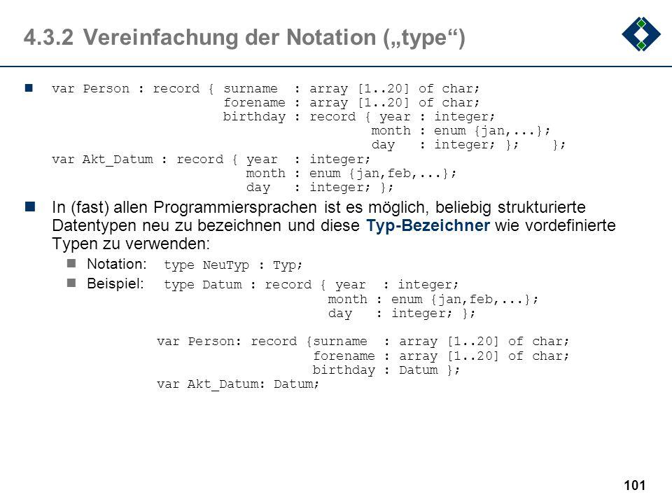 "4.3.2 Vereinfachung der Notation (""type )"