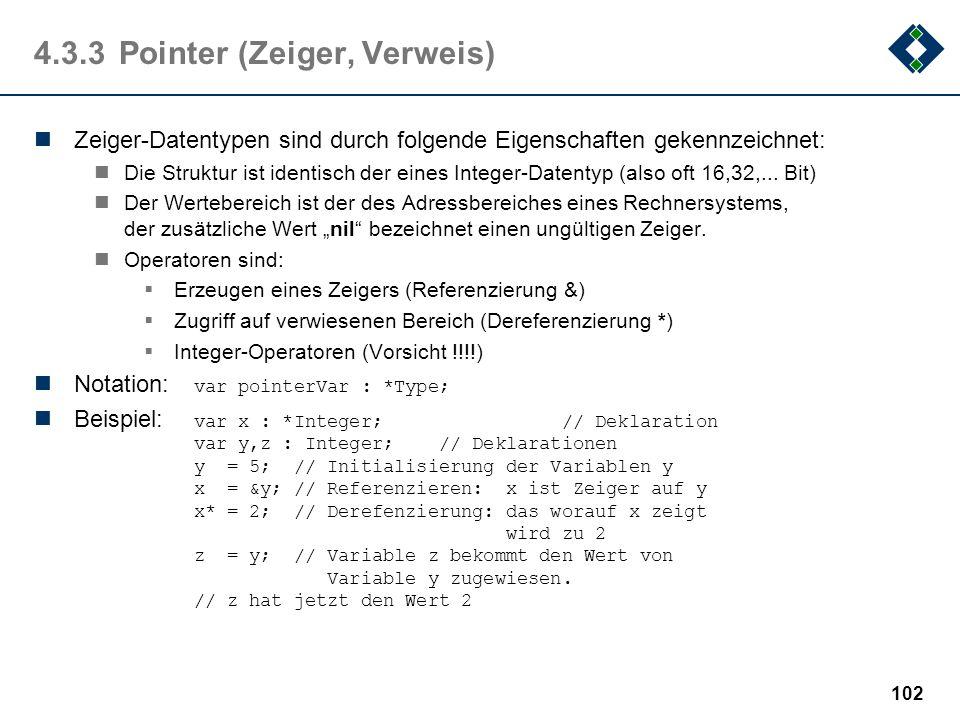 4.3.3 Pointer (Zeiger, Verweis)