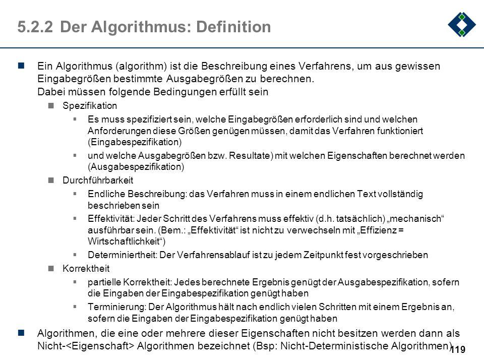 5.2.2 Der Algorithmus: Definition
