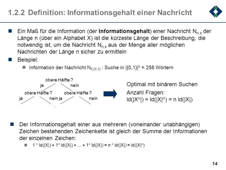 1.2.2 Definition: Informationsgehalt einer Nachricht