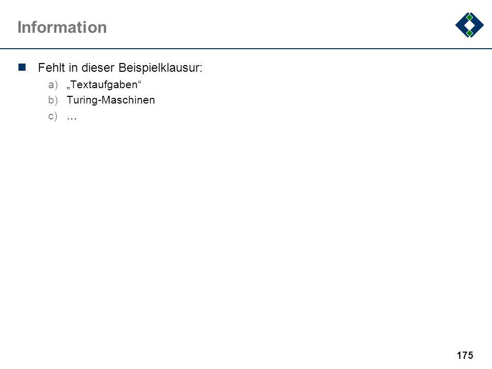 """Information Fehlt in dieser Beispielklausur: """"Textaufgaben"""