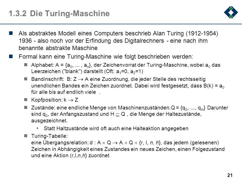 1.3.2 Die Turing-Maschine