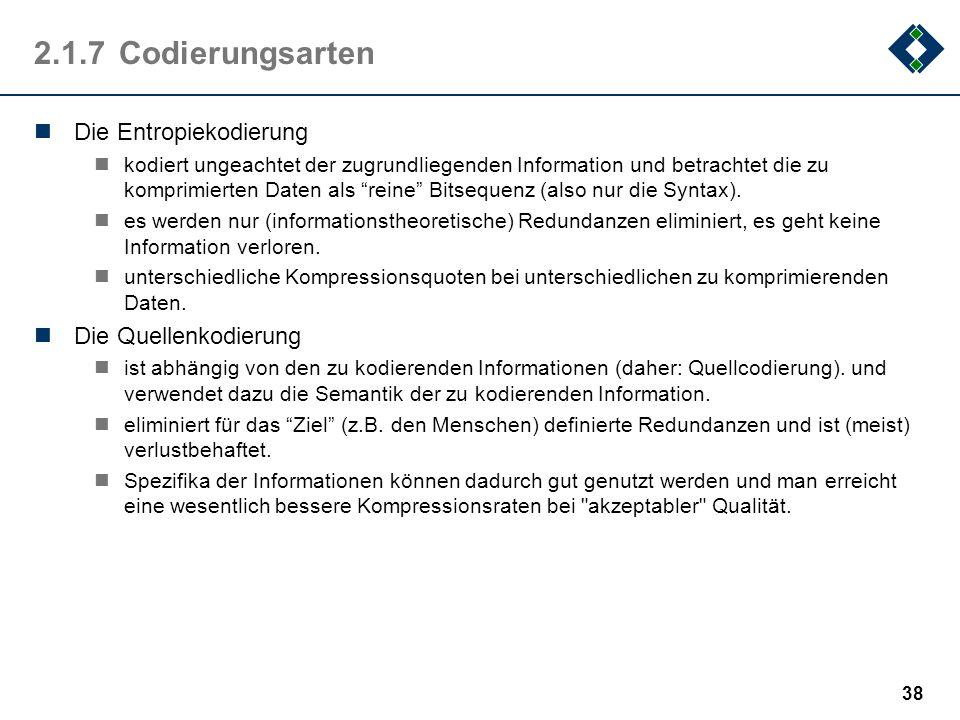 2.1.7 Codierungsarten Die Entropiekodierung Die Quellenkodierung