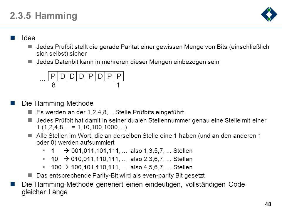 2.3.5 Hamming Idee P D ... 1 8 Die Hamming-Methode