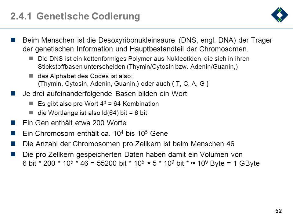2.4.1 Genetische Codierung