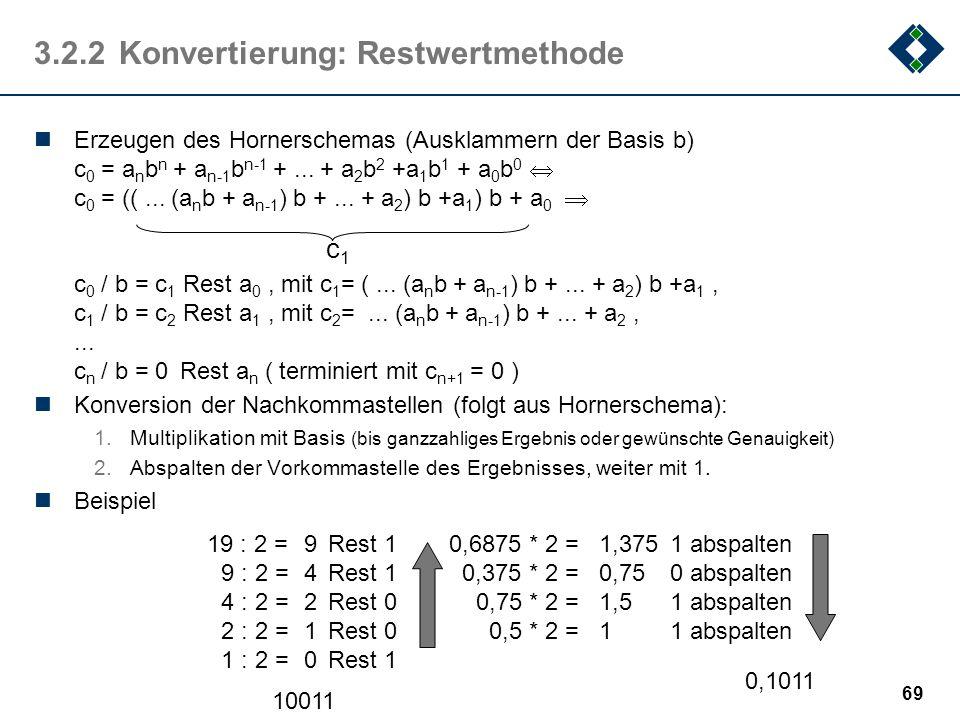 3.2.2 Konvertierung: Restwertmethode