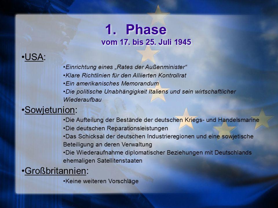Phase vom 17. bis 25. Juli 1945 USA: Sowjetunion: Großbritannien: