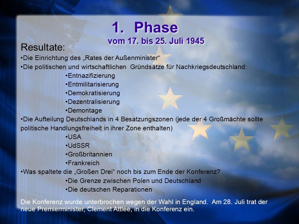 Phase vom 17. bis 25. Juli 1945 Resultate: