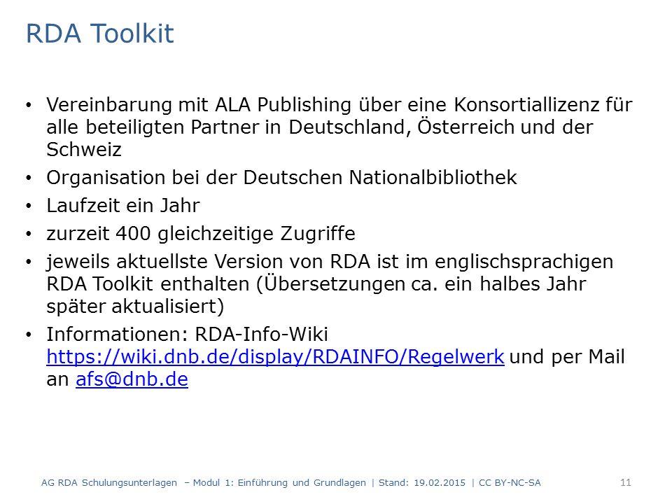 RDA Toolkit Vereinbarung mit ALA Publishing über eine Konsortiallizenz für alle beteiligten Partner in Deutschland, Österreich und der Schweiz.