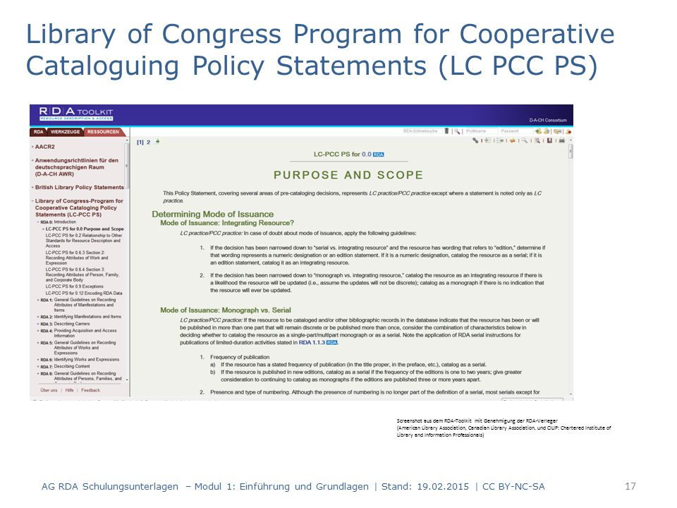 Library of Congress Program for Cooperative Cataloguing Policy Statements (LC PCC PS)
