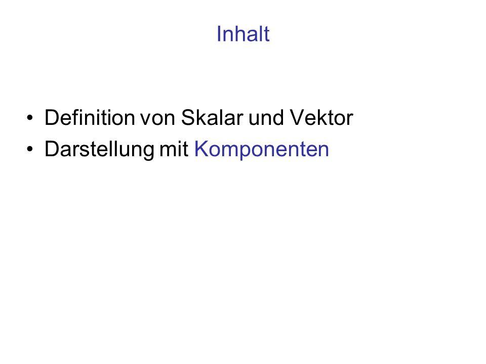Inhalt Definition von Skalar und Vektor Darstellung mit Komponenten