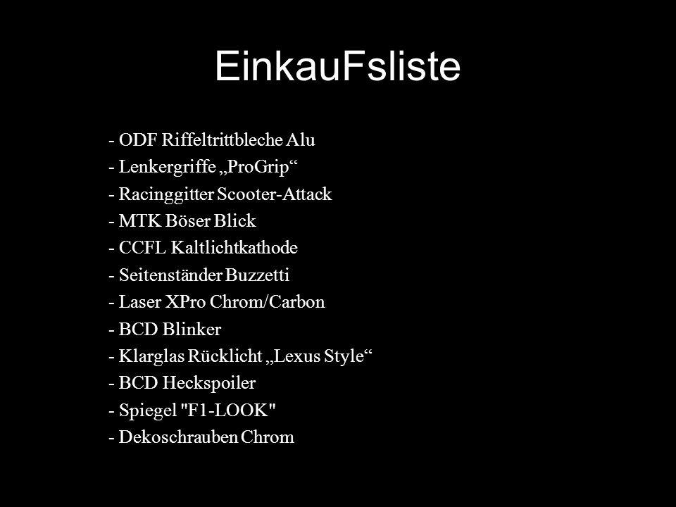 "EinkauFsliste - ODF Riffeltrittbleche Alu - Lenkergriffe ""ProGrip"