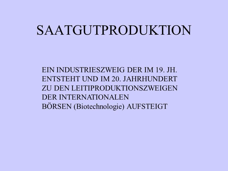 SAATGUTPRODUKTION EIN INDUSTRIESZWEIG DER IM 19. JH.