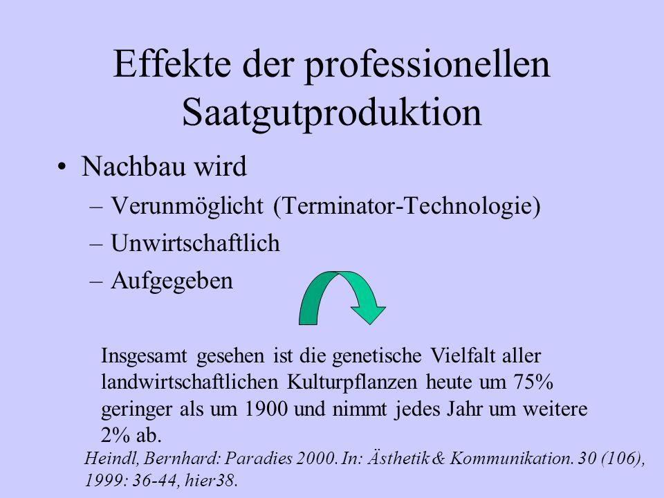 Effekte der professionellen Saatgutproduktion