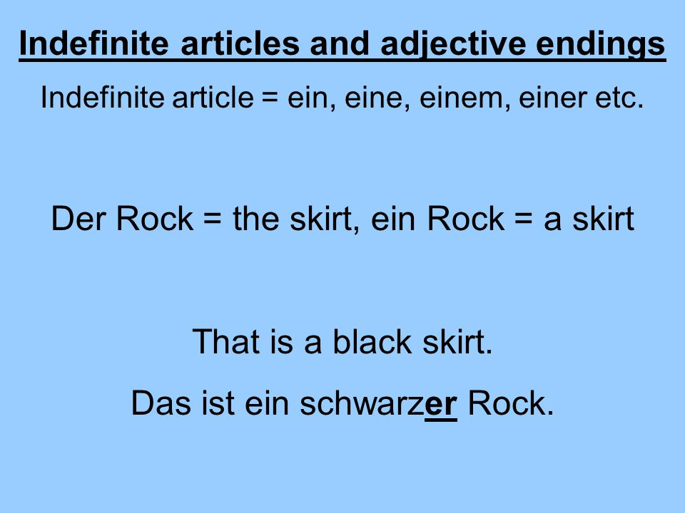 Indefinite articles and adjective endings