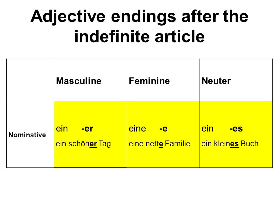 Adjective endings after the indefinite article