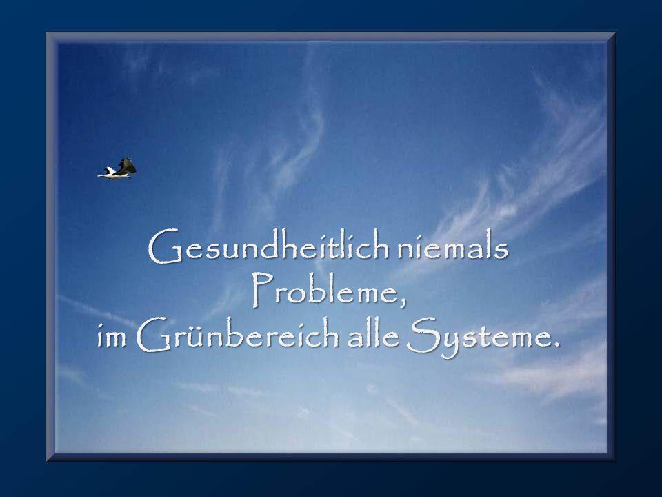 Gesundheitlich niemals Probleme, im Grünbereich alle Systeme.